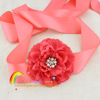 Wholesale Fabric Peony flower with pearl Button center sashes women s belt Maternity sash flower girl sash