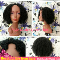 Wholesale Hot sale short kinky curl brazilian high density and quality hair natural balck color inch u part wig virgin hair