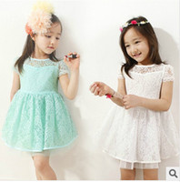 2014 Kids Summer new models girls lace short- sleeved dress p...