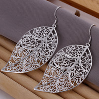 Wholesale 925 Sterling Silver ewelry Leather Leaves Earings Brand New e128