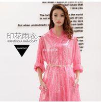 Wholesale Fashion Women Print Rainwear Un regular Edge Fashional Raincoat By