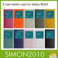 For Samsung Leather  S VIEW Flip Leather Case Cover Open Window Wake UP answer phone write message for Samsung Galaxy Note 3 Note3 N9000 S5 i9600 Colorful