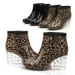 buy spring shoes leopard wedge - Wholesale - 2014 Summer And Autumn Lady Rain Boot Short Cylinder Wedge Rain Boots Waterproof Shoes For Women Leopard Grain Size 40