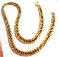 Celtic curb link chain - 18K Gold GF Men two sided antiskid Cuban Link Curb Chain Necklace W button