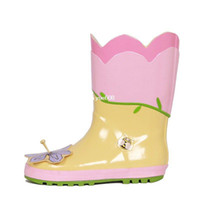Coat Girl Spring / Autumn Wholesale - 2014 New Style Rain Boots Children Boots Flowers Girl Rubber Boots Kid Water Shoes Spring And Summer Pink