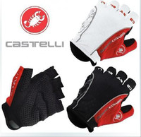 Wholesale 2014 Castelli Rosso Corsa Bicycle Half Finger Cycling Gloves Scorpions Mountain Bike Riding Silicone GEL Gloves