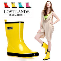 Wholesale Hot Selling comfortable lostlands women rainboots leather short rain boots jelly crystal candy color flat heel fashion shoes woman mid calf