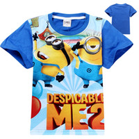 Wholesale Hot Sale New Cute boys T shirt short sleeve cartoon minions printing round neck blue T shirts