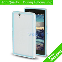 For Sony Ericsson Metal Yes High Quality TPU + Transparent Plastic Bumper Frame for Sony Xperia Z L36H C6603 Free Shipping UPS DHL EMS HKPAM CPAM VS-1