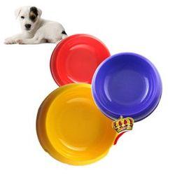 Wholesale Round dog cat puppy bowls size M cm x5 cm plastic pet food feeder colours