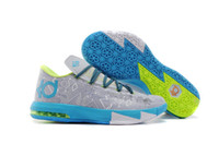 other Flat Men 2014 New Release Athletic Basketball Shoes For Men Sale KD 6 HOME Liger Sports Shoes Pure Platinum Night Factor Vivid Blue Size US8-12