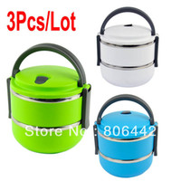 Ceramic Dinnerware Sets Stocked Hot 3Pcs Lot Double Layer Stainless Steel Children Lunch Box 1.4L Keep Warm Food Container For Kids 15038 15039 15040 B_151