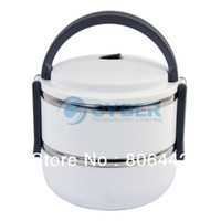 Ceramic Dinnerware Sets 15039# New Double Layer Stainless Steel Children Lunch Box 1.4L Keep Warm Food Container For Kids White 15039