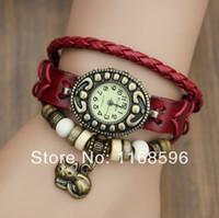 Wholesale 2013 NEW Fashion Cow Leather women s Analog Watch lady bracelet vintage wristwatch with kitten Cat pendant