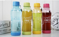 Wholesale 2014 New arrival Hot selling leak proof plastic portable soda bottle sealed glass travel cup scrub sports