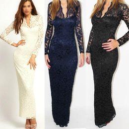 Wholesale Ladies Fashion Sexy V Neck Slim Scallop Neck Lace Maxi Dress Long Sleeve White Black Blue A184 salebags