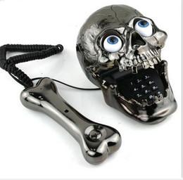 Wholesale Skull Phone Fashinon Telephone Skull Telephone Jumping Eyes Skull Phone with Bone Headset black top sale