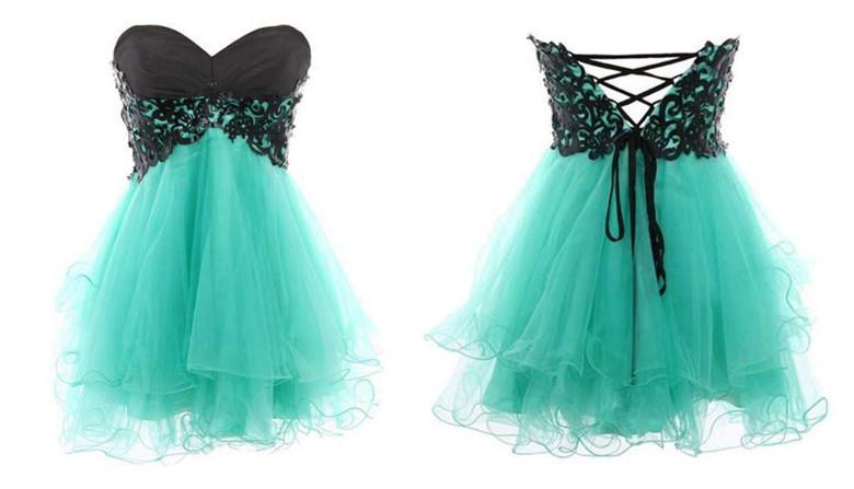 Lace up back short prom dress