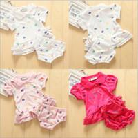 Girl Summer Short Summer Children Suit new style Baby Girls Sets lapel hypotenuse edge Peplum short sleeve t shirt Tops dress + briefs 2pcs Kids Clothes TX351