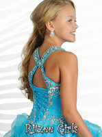 Wholesale Glitzy Sequin Ruffled Skirt Pageant Dresses Rounded Halter Beaded Rhinestone Ball Gown Formal Dress Kid Prom Dress Party Gown YAA