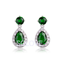 Wholesale SGLOVE Elegant K white Gold Plated amp High Quality Cubic Zircon Refinement Dangle Earrings Dangle Jade Green Drop mixed