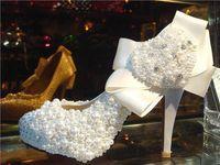 Wholesale Fashion Diamond Heart Shaped Pearl Satin Hot High Heels Dress Shoes Bridal Shoes Size Custom Made