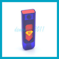Wholesale 2014 HOT SALE Portable USB Electronic Rechargeable Battery Cigarette Flameless Lighter Windproof Superman Style Lighter