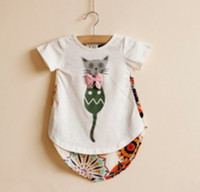 Wholesale The Latest Summer Children Short Sleeve T shirt Kids Cute Cat Printed With Bowknot Tee Shirt Girls Flower Pattern Back Dovetail Shirt I0202