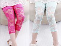 Wholesale GXR Children Clothing Summer Children Leggings Candy Color Points Girl Lace Leggings Modal Cotton Kids Tights Pants GX139