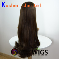 Wholesale Wholesle Fashion inch Very Long Straight silk top natural looking European Hair Jewish Kosher Wig
