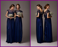 Wholesale 2014 Elegant Cheap Bridesmaid Dresses Dress Formal Gowns Chiffon Royal Blue Short Sleeves Ruffles Lace Long Backless Pageant Evening Dress
