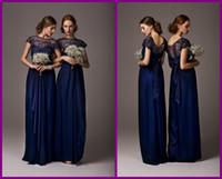 Wholesale 2014 Elegant Cheap Bridesmaid Dresses Dress Formal Gowns Chiffon Royal Blue Short Sleeves Ruffles Lace Long Backless Pageant Evening Dress