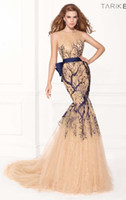 Wholesale 2014 New Hot Tarik Ediz Prom Dress Champagne Tulle Strip Blink Sequins Covered Button Fabulous Satin Sash with Bow Mermaid Formal Dresses
