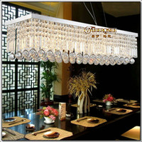 Wholesale Modern Crystal Chandelier Lusters Lamp Rectangle Crystal Suspension Light Fixture Guarantee Dining and Bedroom