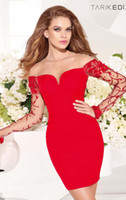 Reference Images Off-the-Shoulder Satin 2014 Hot Sale Sheath Sexy Cheap Red sheer lace full sleeves Off Shoulder Short Beads Satin Applique Cocktail Dress Fashion Prom Gowns