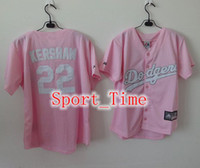 los angeles - Cheap New Lady Women Baseball Jersey Los Angeles quot Dodgers quot Clayton Kershaw Pink Cool Base Jersey Breathable Embroidery Logos Jersey