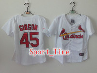 Wholesale St Louis quot Cardinals quot Bob Gibson White With Red Womens Baseball Jerseys Cheap Embroidery Logos Authentic Baseball Jersey Cool Base Shirt