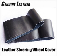 Wholesale Steering Wheel Cover Genuine Cowhide Leather DIY Hand Sewing Diameter cm Black Grey Beige Freeshipping Wholsale Gifts