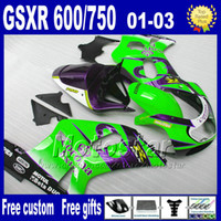 aftermarket seats - 7gifts fairings kit for SUZUKI K1 GSXR600 blue green Corona fairing aftermarket parts GSXR Lp65 Seat Cowl