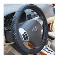 Wholesale Quality mesh knitted cowhide car steering wheel cover genuine leather cover auto