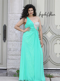 Wholesale Chic One Shoulder Plus Size Special Occasion Dresses Sheath Chiffon Crystal Beads Ruffles Backless Floor Length Celebrity Gown