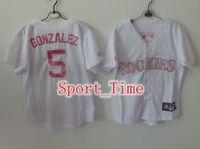 Wholesale Carlos Gonzalez Authentic Baseball Jerseys Women White Pink Pinstripe Baseball Jerseys New Cheap Stitched Jerseys