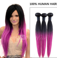Cheap Oxette Hot Sale #1b Purple Ombre Color Two Tone Color Brazilian Remy Human Hair Weave 3pcs or 4pcs lot Straight Weft 300g or 400g