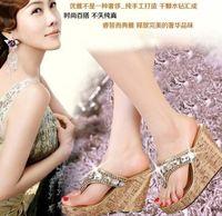 Wholesale Summer fashion crystal sandals fashion rhinestone beaded sandals high heeled clogs flip flop women s wedges sandals