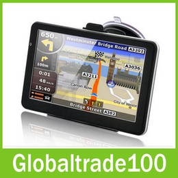 Wholesale 7 inch Car GPS Navigation Handheld Navigator Bluetooh Av In FM Transmitter MTK CE M GB Free NEW Map Free DHL Shipping