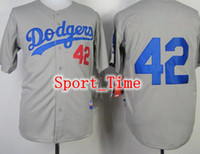Wholesale Dodgers Jackie Robinson Gray Authentic Baseball Jerseys New Style Los Angeles Team Home Jersey Cool Base Baseball Shirts for Sale