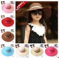 Summer kids sun hats - In stock summer Princess cap Fashion sun hats beach hat sun straw hat kids girls sun hat
