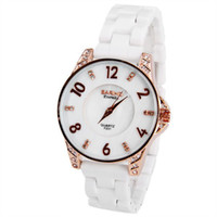 Wholesale Bariho Women Gold Ceramic Watches Ladies watches Diamond Squares Hour Marks with Round Dial Ceramics Watchband