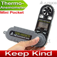 Wholesale Good Quality AZ8908 Pocket Anemometer Wind Speed Meter Digital temperature Thermometer Dropshipping