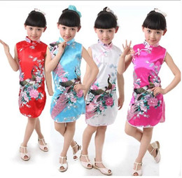 Wholesale beautiful baby girls Chinese dress summer girls clothing chinese traditional dresses with beautiful peacock